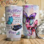 Colorful Butterfly Faith Tumbler Cup My Mind Still Talk To You  Stainless Steel Vacuum Insulated Tumbler 20 Oz Great Gifts For Birthday Christmas Thanksgiving Coffee/ Tea Tumbler With Lid
