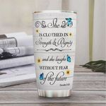 Butterfly Faith Personalized Tumbler Cup She Laughs Without Fear Of The Future Stainless Steel Vacuum Insulated Tumbler 20 Oz Great Gifts For Birthday Christmas Thanksgiving Coffee/ Tea Tumbler