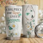 Faith Daisy Butterfly Tumbler Cup A Big Piece Of My Heart Lives In Heaven Stainless Steel Vacuum Insulated Tumbler 20 Oz Great Gifts For Birthday Christmas Thanksgiving Coffee/ Tea Tumbler