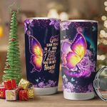 Faith Butterfly Rose Tumbler Cup God Has You In His Arms I Have You In My Heart Purple Stainless Steel Vacuum Insulated Tumbler 20 Oz Great Gifts For Birthday Christmas Thanksgiving