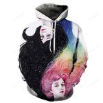Black and Rainbow Haired Girls 3D Sweatshirt Hoodie Pullover