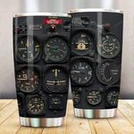 Pilot Gauges Tumbler Pilot Indicator Travel Mug Stainless Steel Vacuum Insulated Double Wall Travel Tumbler with Lid for Coffee/Tea for Aircraft Pilot On Birthday Christmas