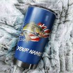 Personalized Bass Fishing American Flag Patriot 4th of July Custom name Stainless Steel Tumbler Cup Personalized Fishing gift - Tumbler 20oz