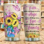 Sunflower Faith Hope Love Stainless Steel Tumbler Cup   Travel Mug   Colorful - Tumbler 20oz