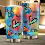 Peace Love Autism Stainless Steel Tumbler Cup | Travel Mug | Colorful - Tumbler 20oz