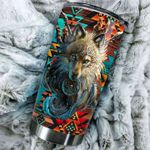 Native Wolf Stainless Steel Tumbler Cup   Travel Mug   Colorful - Tumbler 20oz