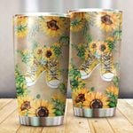 Hippie Sunflowers Stainless Steel Tumbler Cup | Travel Mug | Colorful - Tumbler 20oz