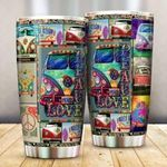Hippie Bus Peace Love Stainless Steel Tumbler Cup | Travel Mug | Colorful - Tumbler 20oz