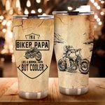 Biker Papa Stainless Steel Tumbler Cup | Travel Mug | Colorful - Tumbler 20oz