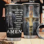 Jesus Lion Warrior Tumbler Cup The Devil Saw Me With My Head Down Stainless Steel Insulated Tumbler 20 Oz Great Gifts For Birthday Christmas Thanksgiving Tumbler For Coffee/ Tea With Lid