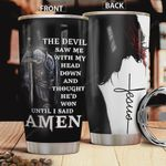 Jesus Warrior Tumbler Cup  The Devil Saw Me With My Head Down Stainless Steel Insulated Tumbler 20 Oz Great Gifts For Birthday Christmas Thanksgiving Tumbler For Coffee/ Tea With Lid
