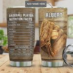 Baseball Player Facts Personalized Tumbler Cup Baseball Grips Picture Stainless Steel Insulated Tumbler 20 Oz Tumbler For Practicing Traveling Best Gifts For Baseball Player On Birthday Christmas