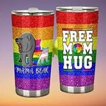 LGBT Mama Bear Free Mom Hug Stainless Steel Tumbler Perfect Gifts For LGBT Tumbler Cups For Coffee/Tea, Great Customized Gifts For Birthday Christmas Thanksgiving