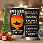 Dad And Son Fishing Partners For Life Stainless Steel Tumbler, Tumbler Cups For Coffee/Tea, Great Customized Gifts For Father's Day Birthday Christmas