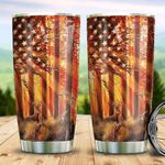 American Flag Deer Tumbler Cup Stainless Steel Insulated Tumbler 20 Oz Perfect Gifts For Deer Lovers Great Gifts For Birthday Christmas Thanksgiving Coffee/ Tea Tumbler With Lid
