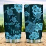 Blue Sea Turtle Hibiscus Flowers Tumbler Cup Go With The Flow Stainless Steel Insulated Tumbler 20 Oz Best Gifts For Birthday Christmas Thanksgiving Great Gifts For Turtle Lovers