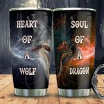Wolf Dragon Tumbler Cup Heart Of A Wolf Soul Of A Dragon Stainless Steel Vacuum Insulated Tumbler 20 Oz Great Gifts For Birthday Christmas Thanksgiving Tumbler For Coffee/ Tea With Lid