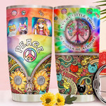 Sunflower Hippie Cats Tumbler Cup Every Little Thing Is Gonna Be Alright Stainless Steel Vacuum Insulated Tumbler 20 Oz Best Gifts For Cat Lovers Great Gifts For Birthday Christmas Thanksgiving