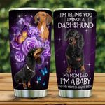 Personalized Dachshund Butterfly Flowers Tumbler Cup My Mom Said I'm A Baby Not Dog Stainless Steel Insulated Tumbler 20 Oz Tumbler For Dog Lovers Great Gifts For Birthday Christmas Thanksgiving