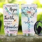 Dragonfly Faith Heart Shaped Quote Tumbler Cup Where There Is Hope There Is Faith Stainless Steel Insulated Tumbler 20 Oz Best Gifts For Dragonfly Lovers On Birthday Christmas Thanksgiving