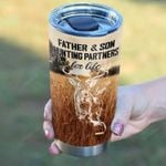 Personalized Deer Hunters Father Son Hunting Partner For Life Stainless Steel Tumbler, Tumbler Cups For Coffee/Tea, Great Customized Gifts For Birthday Christmas Father's Day