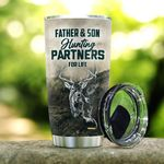 Hunting Dad And Son Hunting Partners For Life Stainless Steel Tumbler, Tumbler Cups For Coffee/Tea, Great Customized Gifts For Birthday Christmas Father's Day