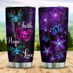 Faith Hope Love Butterfly Flower Tumbler Cup Stainless Steel Vacuum Insulated Tumbler 20 Oz Great Customized Gifts For Birthday Christmas Thanksgiving Unique Gifts For Friends Relatives