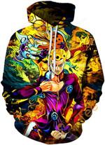 Cosplay Jojo's Bizarre Adventure Print Pullover With Front Pocket Sku123 Unisex 3D All Over Print Hoodie, Zip-up Hoodie