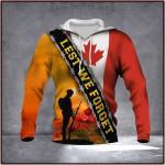 Veteran Lest We Forget Canada Flag 3D All Over Print Hoodie, Zip-up Hoodie