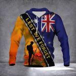 Veteran Lest We Forget Australia Flag 3D All Over Print Hoodie, Zip-up Hoodie