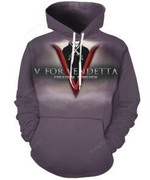 Men V for Vendetta Animated 3D All Over Print Hoodie, Zip-up Hoodie