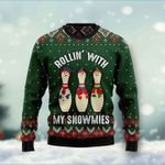 Bowling Rollin' With My Snowmies Ugly Christmas Sweater, All Over Print Sweatshirt