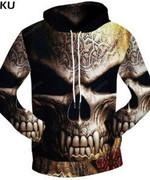 Brand Skull Rune Metallic  3D All Over Print Hoodie, Zip-up Hoodie