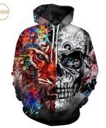 Color Painting Skulls 3D All Over Print Hoodie, Zip-up Hoodie