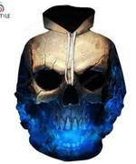 Skull Blue  3D All Over Print Hoodie, Zip-up Hoodie