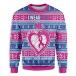 I Wear Pink For Me Breast Cancer Awareness Ugly Christmas Sweater, All Over Print Sweatshirt