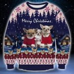 Merry Christmas Chihuahua Dogs Ugly Christmas Sweater, All Over Print Sweatshirt
