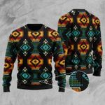 Black Patterns Ugly Christmas Sweater, All Over Print Sweatshirt