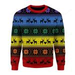 Rainbow Deer LGBT Ugly Christmas Sweater, All Over Print Sweatshirt
