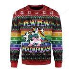 Unicorn LGBT Pew Pew Ugly Christmas Sweater, All Over Print Sweatshirt
