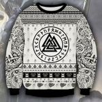 Viking Black And White Ugly Christmas Sweater, All Over Print Sweatshirt