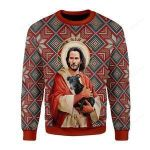 Jesus With Dog Ugly Christmas Sweater, All Over Print Sweatshirt