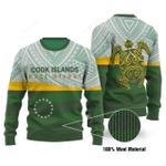 Turtle Cook Islands Flag Ugly Christmas Sweater, All Over Print Sweatshirt