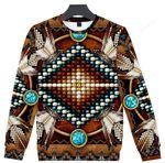 Brown Naumaddic Pattern Ugly Christmas Sweater, All Over Print Sweatshirt
