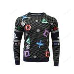 Symbols Black Ugly Christmas Sweater, All Over Print Sweatshirt