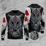 Viking Wolf Ugly Christmas Sweater, All Over Print Sweatshirt