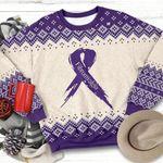 Purple Ribbon Fibromyalgia Awareness Ugly Christmas Sweater, All Over Print Sweatshirt