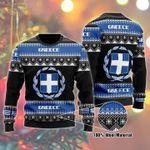 Greece Flag Ugly Christmas Sweater, All Over Print Sweatshirt