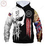 Liberty and Justice For All US Flag Skull 3D All Over Print Hoodie, Zip-up Hoodie