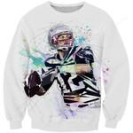 White Tom Brady Football 3D All Over Print Hoodie, Zip-up Hoodie